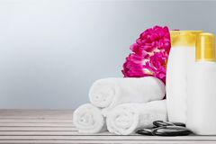 Towel. Soft bath pastel colored color spa royalty free stock photos
