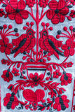 Towel with ukrainian ornamental pattern. Handmade towel with ukrainian floral ornamental pattern Stock Photos