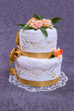 Towel wedding cake. Stock Images