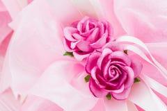 Towel wedding decoration with flowers . Stock Photo