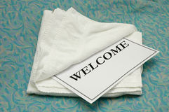 towel welcome Royaltyfria Foton