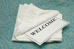 towel welcome 免版税库存照片
