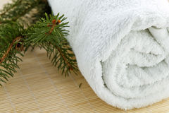 Towel wellness therapy. White towel rolled on wooden background with pine branches Stock Photos
