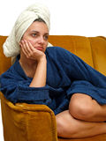 Towel woman 8. Woman with towel on her head royalty free stock photo