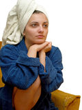 Towel woman4. Woman with towel on her head stock photography