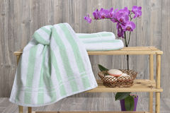 Towel on wood Stock Photography