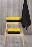 Towel on wood Stock Photos