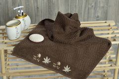 Towel on wood Stock Images