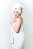 Towel wrap surprised Stock Image