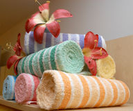 Towels. With flowers in the shop stock image