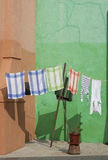 Towels. Laundry in a colorful corner royalty free stock photography