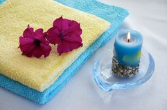 Towels. With flowers and candel Royalty Free Stock Image