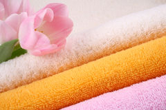 Towels. Stack of colorful towels with pink tulips close-ups stock photography