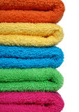 Towels. Stacked colorful towels Stock Photography
