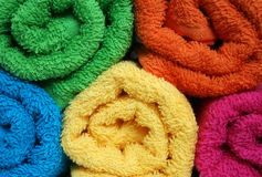 Towels. Colorful rolled towels Royalty Free Stock Images