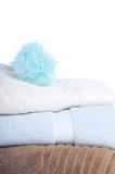 Towels. Stack of Three Towels with Loofah Royalty Free Stock Photography