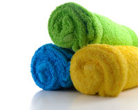 Towels. Three towels isolated on white background stock photography