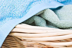 Towels. Macro of Blue and Green Terry Cloth Fabric Royalty Free Stock Photos