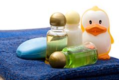 Towels And Shampoo Bottles Stock Photos