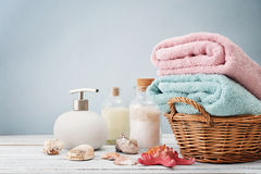 Towels in basket Stock Photos