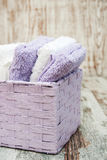 Towels in basket Royalty Free Stock Photo