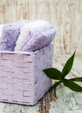 Towels in basket Royalty Free Stock Images