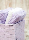 Towels in basket Stock Photography