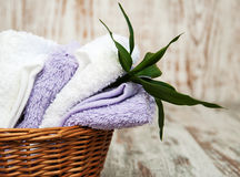 Towels in basket Stock Images