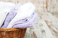 Towels in basket Stock Image