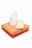 Towels bast and shampoo Royalty Free Stock Images