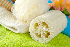 Towels with Bath Spa Kit Stock Photos