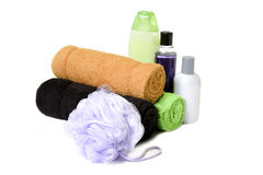 Towels and bath stuff royalty free stock photos
