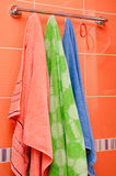 Clean towels bathroom hanging Stock Photo