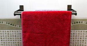 Towels on a bathroom rail Royalty Free Stock Photography