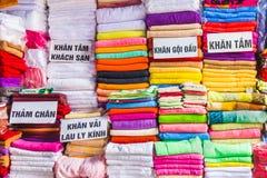 Towels on the bazaar in Hanoi, Vietnam royalty free stock images