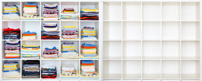 Towels, bed sheets and clothes Stock Photos