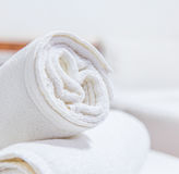 Towels on the bed Stock Photos