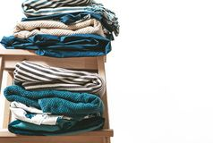 Towels, blankets and other home textile in blue and beidge color Stock Image