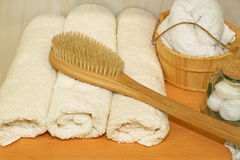 Towels and bucket Royalty Free Stock Photos