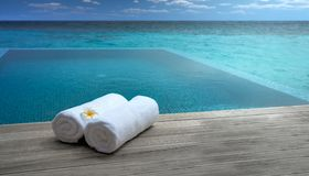 Towels By The Pool Royalty Free Stock Image