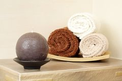 Towels and candle Royalty Free Stock Photography