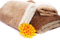 Towels and candle Royalty Free Stock Photos