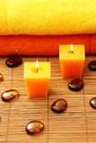 Towels and candle Royalty Free Stock Images
