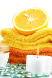 Towels,  candle and  cream Stock Photo