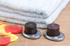 Towels and candles Royalty Free Stock Image
