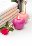 Towels candles rose and wine Stock Image
