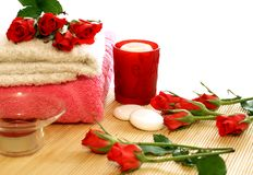 towels, candles and roses Stock Photography