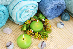 Towels, candles and stones Royalty Free Stock Image