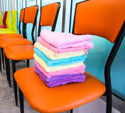 Towels on chairs Royalty Free Stock Images