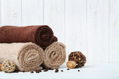 Towels with coffee beans Stock Photo